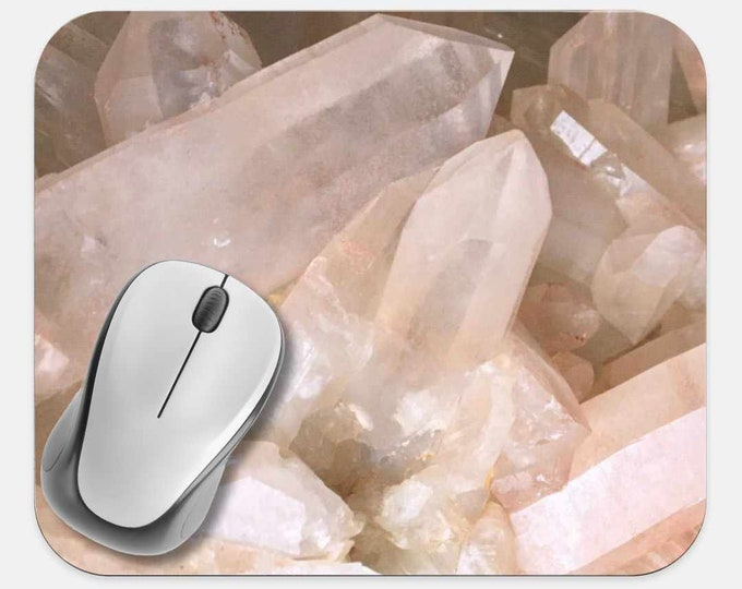 Gemstone Crystals Mouse Pad, Gems Mouse Pad, Computer Accessories, Tech Desk Supplies, Boho Bohemian Hippie Mouse Pad, Neoprene Mouse Pad