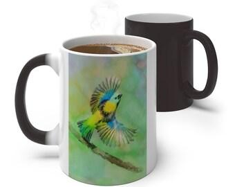 Watercolor Hummingbird Color Changing Mug, Magical Mug, 11oz 15oz Mug, Magic Mug, Bohemian Hippie Boho Mug, Color Change Cup, Ceramic Coffee