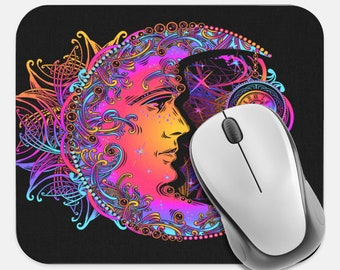 Celestial Mouse Pad, Moon Sun Stars Mouse Pad, Computer Accessories, Tech Desk Supplies, Boho Bohemian Hippie Mouse Pad, Neoprene Mouse Pad