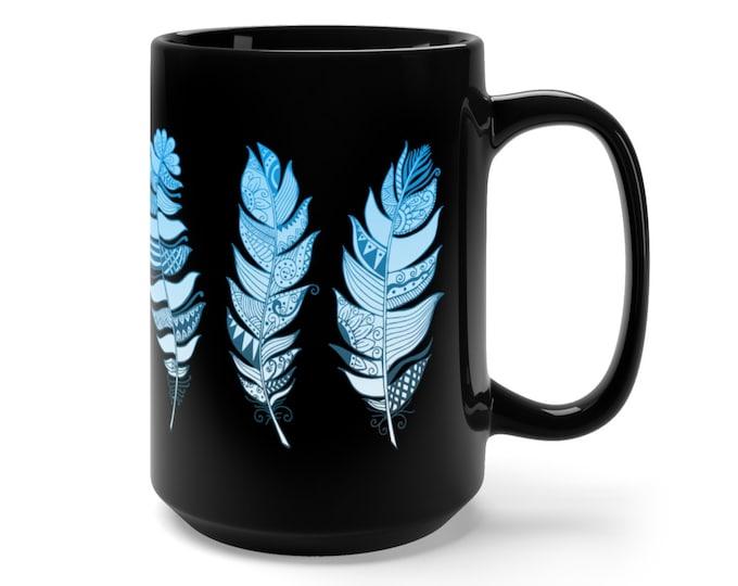 15oz Black Ceramic Mug, Boho Bohemian Feathers Novelty Mug, Novelty Drink Mug, Feather Coffee Mug, Boho Ceramic Mug, Gift For Her Him