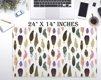"LARGE Feather Desk Pad, 24"" x 12"" Inch Non Slip Desk Pad, Office Accessories, Computer Tech Supplies, Boho Bohemian Hippie Neoprene Desk Mat"