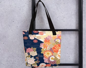 "15"" x 15"" Tote Bag, Floral Japanese Flowers All Over Print Tote Bag, 15 Inch Carry Grocery Bag, Reusable Tote, Beach Bag, Custom Large Tote"