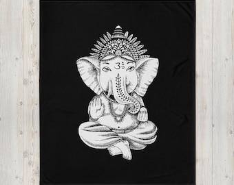 LARGE 50 x 60 Hindu Lord Ganesha Minky Fleece Throw Blanket, Fleece Blanket, Minky Blanket, Premium Silky Minky Floral Blanket Bedding