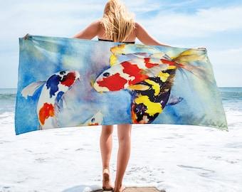 Large Beach Towel, 30 x 60 Inch Towel, Bath Towel, Japanese Koi Fish Towel, Custom Print Towel, Asian Art Designer Towel, Premium Towel