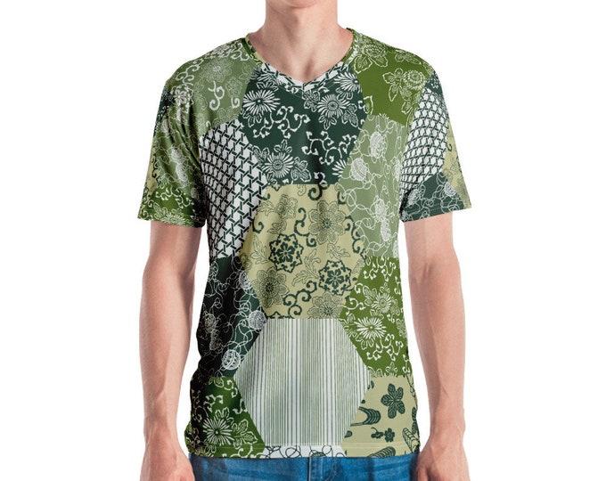 Mens V Neck Tee, All Over Print Shirt, Mens Boho Hippie Print Shirt, Japanese Floral V Neck Tee, Boho Bohemian Shirt, S-3XL Beach Summer Tee