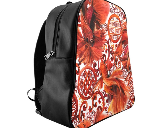 Vegan Leather Laptop Backpack, PU Leather Japanese Koi Fish Asian Art Print Bag, Three Sizes School Backpack, Travel Carry On Luggage