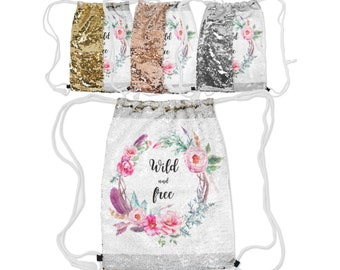 "Sequin Reversible Drawstring Backpack, Boho Bohemian Floral Wild and Free Backpack, 12.5"" x 16.5""  Lined Lining Carry Bag, Gold Silver Rose"