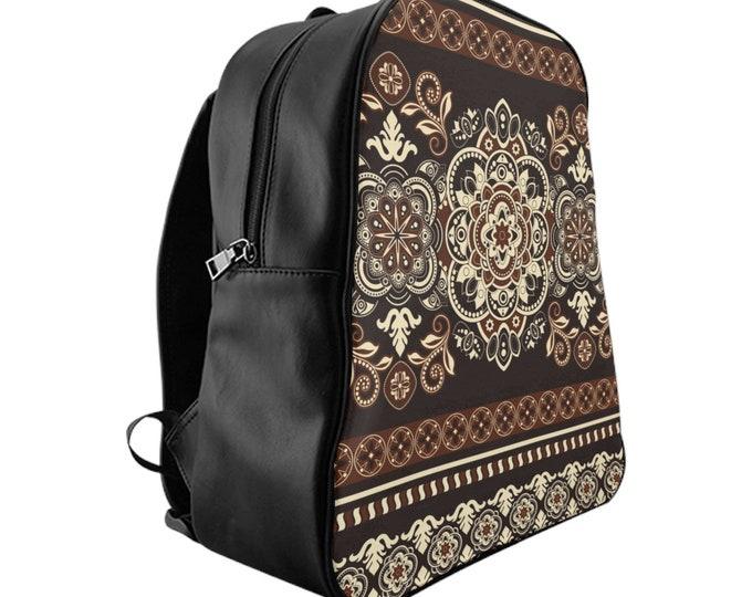 Vegan Leather Laptop Backpack, PU Leather Boho Bohemian Tribal Batik Print Bag, Three Sizes School Backpack,, Office Travel Carry On Luggage