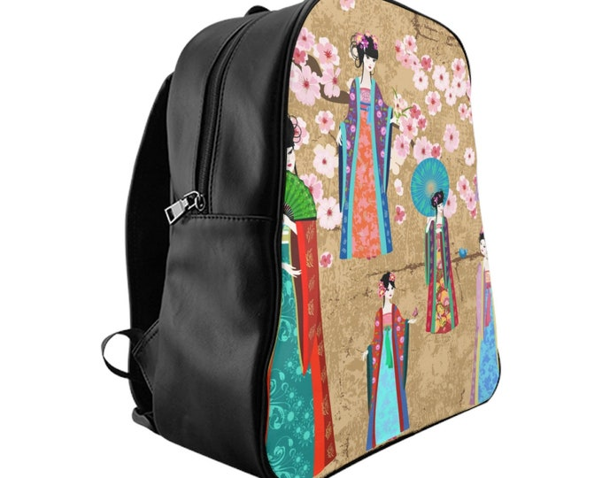 Vegan Leather Laptop Backpack, PU Leather Japanese Geisha Asian Art Print Bag, Three Sizes School Backpack, Office Travel Carry On Luggage