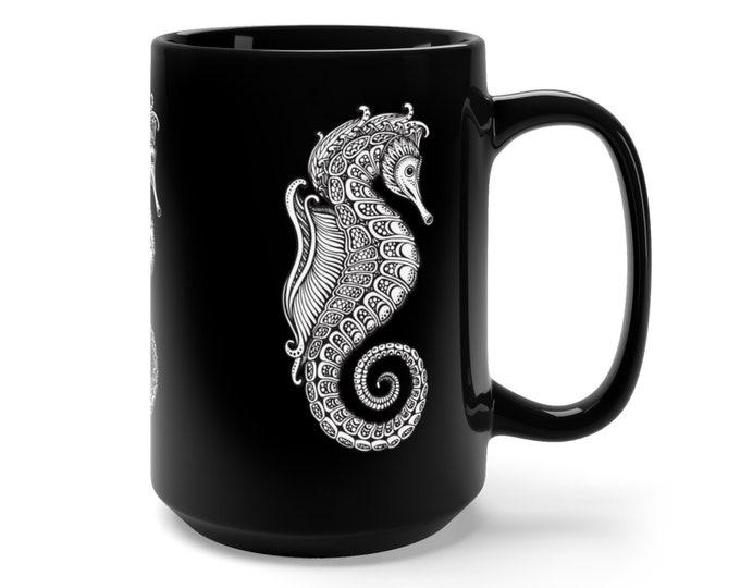 15oz Black Ceramic Mug, Boho Bohemian Seahorse Sea Horse Novelty Mug, Novelty Drink Mug, Animal Coffee Mug, Boho Black Mug Gift For Her