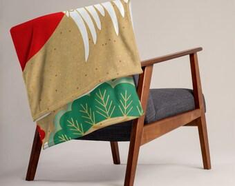 LARGE 50 x 60 Japanese Crane Minky Fleece Throw Blanket, Fleece Blanket, Minky Blanket, Premium Silky Minky Floral Blanket, Asian Art Decor