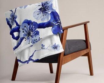 LARGE 50 x 60 Japanese Floral Minky Fleece Throw Blanket, Fleece Blanket, Minky Blanket, Premium Silky Minky Floral Blanket, Asian Art Decor