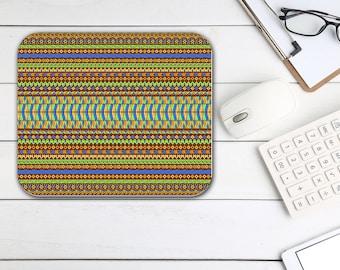 Batik Print Mouse Pad, Home Office Desk Accessories, Tech Desk Office Supplies, Boho Bohemian Hippie Rectangle Neoprene Non Slip Mouse Pad