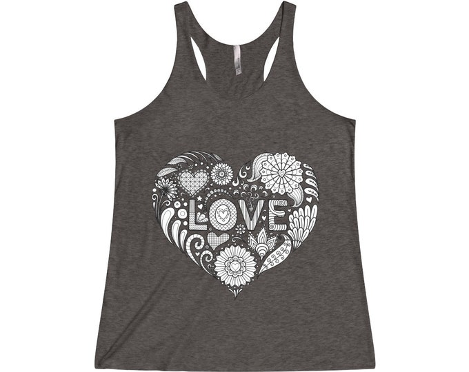 Womens Triblend Racerback Tank Top, Boho Hippie Mandala Love Heart Print Beach Tank Top, Flowy Gym Workout Shirt, XS-2XL Bohemian Clothing