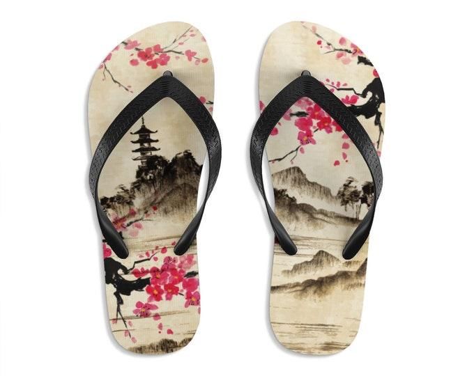 Unisex Flipflops, Japanese Floral Art Print Sandals, Soft Summer Beach Flip Flops, Beach Shoes, Boho Bohemian Hippie Flip Flop Shoes