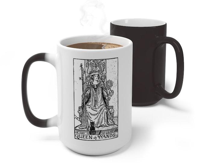 Tarot Card Color Changing Mug, Queen of Wands Tarot Mug, 11oz 15oz Mug, Magic Mug, Occult Divination Spiritual Mug, Color Change Ceramic Mug