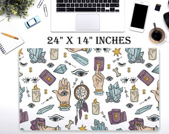 "LARGE Occult Desk Pad, 24"" x 12"" Inch Non Slip Desk Pad, Office Accessories, Computer Tech Supplies, Boho Bohemian Hippie Neoprene Desk Mat"
