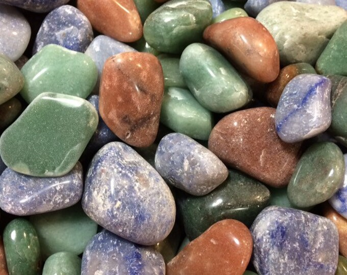 Bulk 1lb Tumbled Mixed Aventurine Gemstones, Bulk Wholesale Green Red Blue Tumbled Gems, Aventurine Gemstones Crystals Rocks, Polished Gems