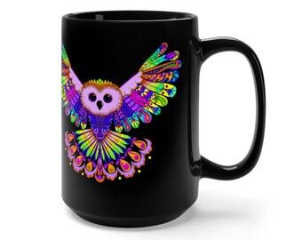 15oz Black Ceramic Mug, Boho Bohemian Owl Bird Novelty Mug, Novelty Drink Mug, Animal Coffee Mug, Boho Hippie Ceramic Mug, Gift For Her Him