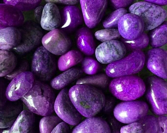 Bulk 1/2lb Tumbled Dyed Purple Agate Gemstones, Bulk Wholesale Party Colors Tumbled Stones Gemstones, Bulk Crystals, Purple Agate Gemstones