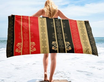 Large Beach Towel, 30 x 60 Inch Towel, Bath Towel, Japanese Fan Art Towel, Custom Print Towel, Asian Art Designer Towel, Premium Towel