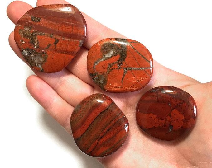 Large Brecciated Jasper Worry Stone,Japser Gallet, Gemstone Worry Stone, Red Gem Palm Stone, Large Polished Palm Stone Gemstone Crystal
