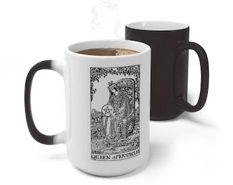 Tarot Card Color Changing Mug, Queen of Pentacles Tarot Card Mug, 11oz 15oz Mug, Magic Mug, Occult Divination Color Change Ceramic Cup