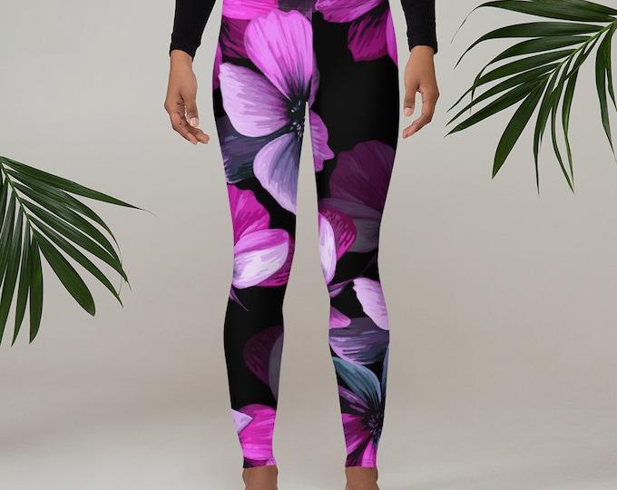 Womens Leggings, Boho Flowers Floral Leggings, Exercise Yoga Pants, Bohemian Butterfly Leggings XS S M L XL Size, Workout Sports Wear Pants