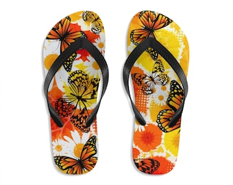 Unisex Flipflops, Butterflies Boho Print Sandals, Soft Summer Beach Flip Flops, Beach Shoes, Boho Hippie Flip Flop Shoes, Bohemian Footware