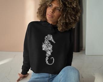 Womens Crop Fleece Hoodie, Seahorse Floral Boho Bohemian Crop Top Hoodie, XS-L Size, Crop Sweatshirt, Womens Sweatshirt Crop Pullover