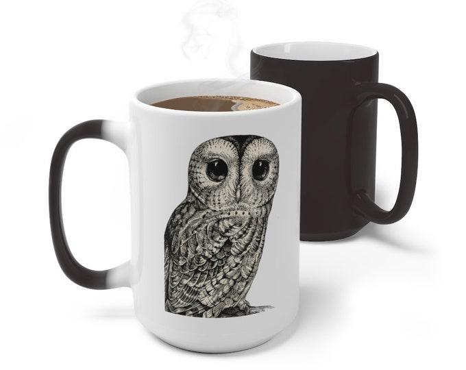 Owl Color Changing Mug, Animal Totem Mug, 11oz 15oz Mug, Magic Mug, Bohemian Hippie Boho Mug, Color Change Cup, Ceramic Mug