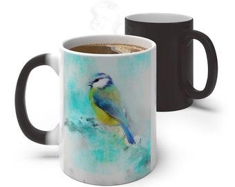Watercolor Bird Color Changing Mug, Magical Mug, 11oz 15oz Mug, Magic Mug, Bohemian Hippie Boho Mug, Color Change Cup, Ceramic Coffee Cup