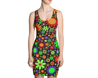Womens Dress, Boho Print Dress, Womens Bohemian Sleeveless Tank Stretch Dress, Boho Hippie Polyester Spandex Dress XS S M L XL Sizes