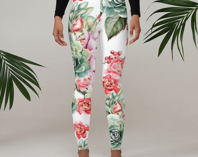 Womens Leggings, Boho Flowers Cactus Leggings, Exercise Yoga Pants, Bohemian Butterfly Leggings XS S M L XL Size, Workout Sports Wear Pants