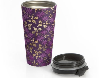 Stainless Steel Travel Mug, Floral Boho Bohemian Hippie Travel Mug, Filigree Leaves Print Cup, 15 Ounce Tumbler, 15oz Coffee Tea Drinkware