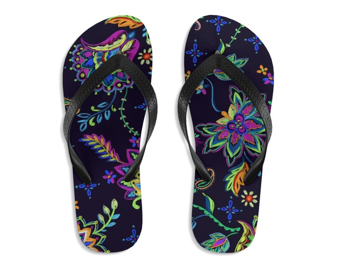 Unisex Flipflops, Bohemian Floral Flowers Batik Print Sandals, Soft Summer Beach Flip Flops, Beach Shoes, Boho Hippie Flip Flop Shoes