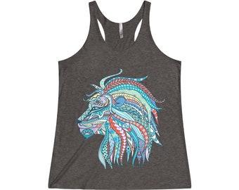 Womens Triblend Racerback Tank Top, Boho Hippie Mandala Lion Print Beach Tank Top, Flowy Gym Workout Shirt, XS-2XL Bohemian Clothing