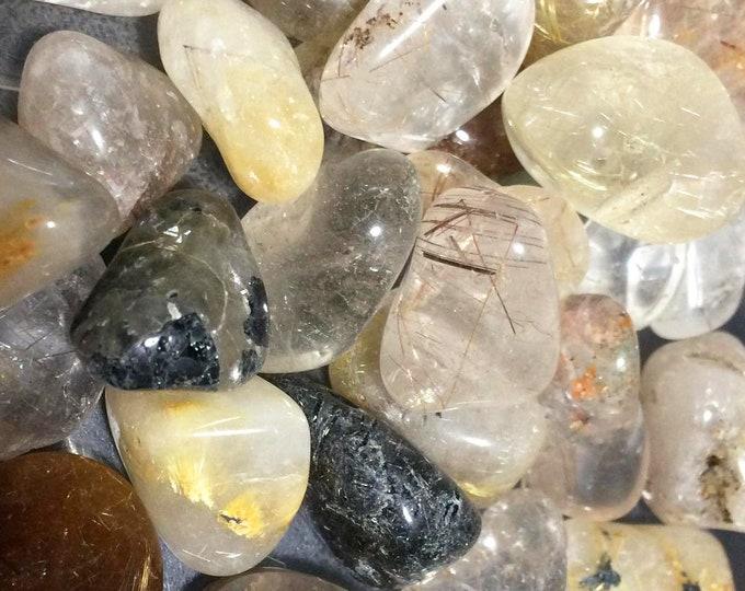 Bulk 1lb Tumbled Rutilated Quartz Gemstones, Bulk Wholesale Rutile Quartz Tumbled Stones, Tumbled Gemstones,Bulk Crystals, Bulk Gemston