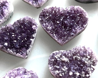 Purple Amethyst Crystal Geode Heart, 1-2 Inch Crystal Geode Heart, Smoky Amethyst Heart, Smoky Red Amethyst Heart, Mineral Gem Specimen