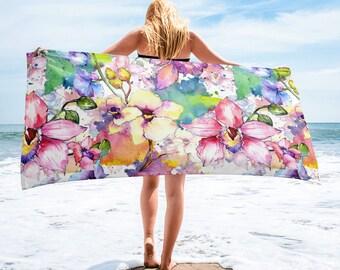 Large Beach Towel, 30 x 60 Inch Towel, Bath Towel, Wildflowers Floral Towel, Custom Print Towel, Floral Art Designer Towel, Premium Towel