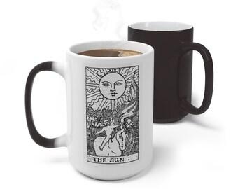 Tarot Card Color Changing Mug, The Sun Tarot Card Mug, 11oz 15oz Mug, Magic Mug, Occult Divination Spiritual Mug, Color Change Ceramic Cup