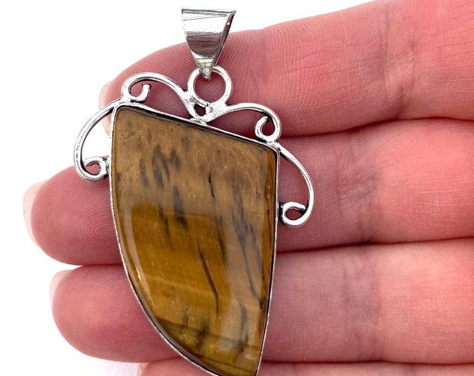 Golden Tigers Eye Gemstone Pendant, Sterling Silver Pendant, Tiger Eye Necklace, Tiger Eye Gemstone Jewelry, Tiger Eye Gem Pendant