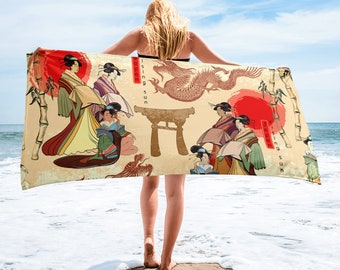 Large Beach Towel, 30 x 60 Inch Towel, Bath Towel, Japanese Geisha Towel, Custom Print Towel, Asian Art Designer Towel, Premium Towel