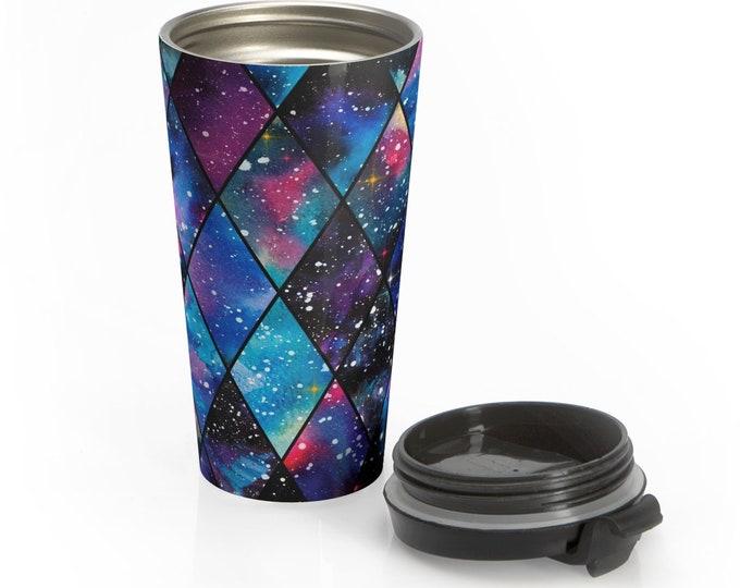 Stainless Steel Travel Mug, Galaxy Boho Bohemian Hippie Travel Mug, Watercolor Stars Print Cup, 15 Ounce Tumbler, 15oz Coffee Tea Drinkware