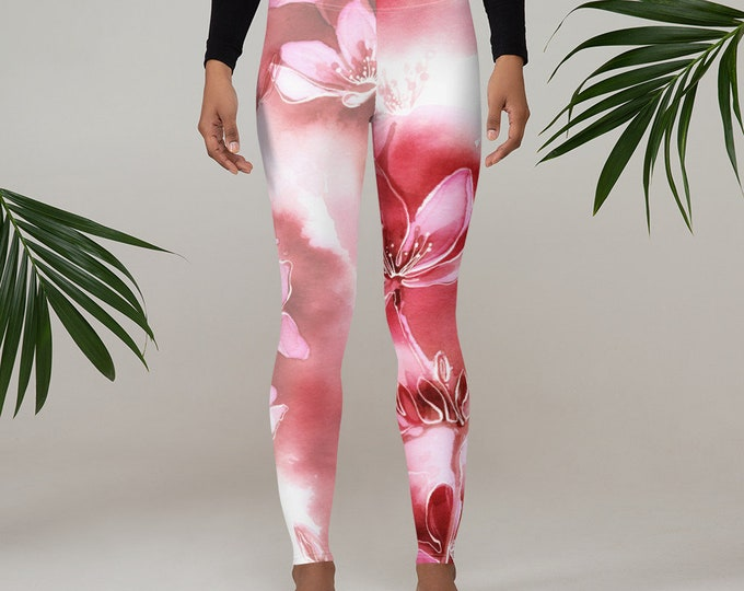 Womens Leggings, Boho Japanese Floral Leggings, Exercise Yoga Pants, Bohemian Abstract Leggings XS S M L XL Size, Workout Sports Wear Pants