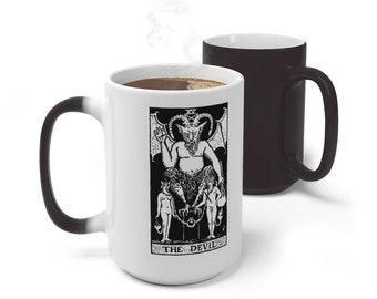 Tarot Card Color Changing Mug, The Devil Tarot Mug, 11oz 15oz Mug, Magic Mug, Occult Divination Spiritual Mug, Color Change Cup, Ceramic Mug