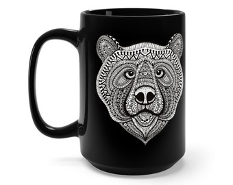 15oz Black Ceramic Mug, Boho Bohemian Bear Wildlife Novelty Mug, Novelty Drink Mug, Animal Coffee Mug, Boho Black Mug Gift For Her Him