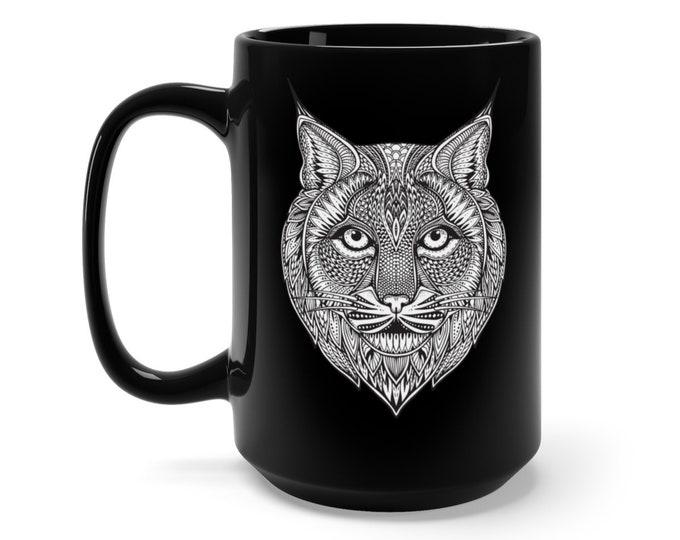 15oz Black Ceramic Mug, Boho Bohemian Lynx Cat Wildcat Novelty Mug, Novelty Drink Mug, Animal Coffee Mug, Boho Black Mug, Gift For Her Him