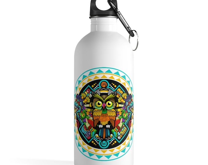 Boho Owl Bird Stainless Steel Water Bottle, Reusable 14oz Steel Water Bottle, Workout Water Bottle, Sports Bottle, Tribal Hippie Tumbler