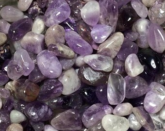 Bulk 1/2lb Amethyst Pebble Gemstones, Tumbled Polished Chips, Undrilled Gem Chips, Small 10-20mm Purple Amethyst Pebble Crystals Stones